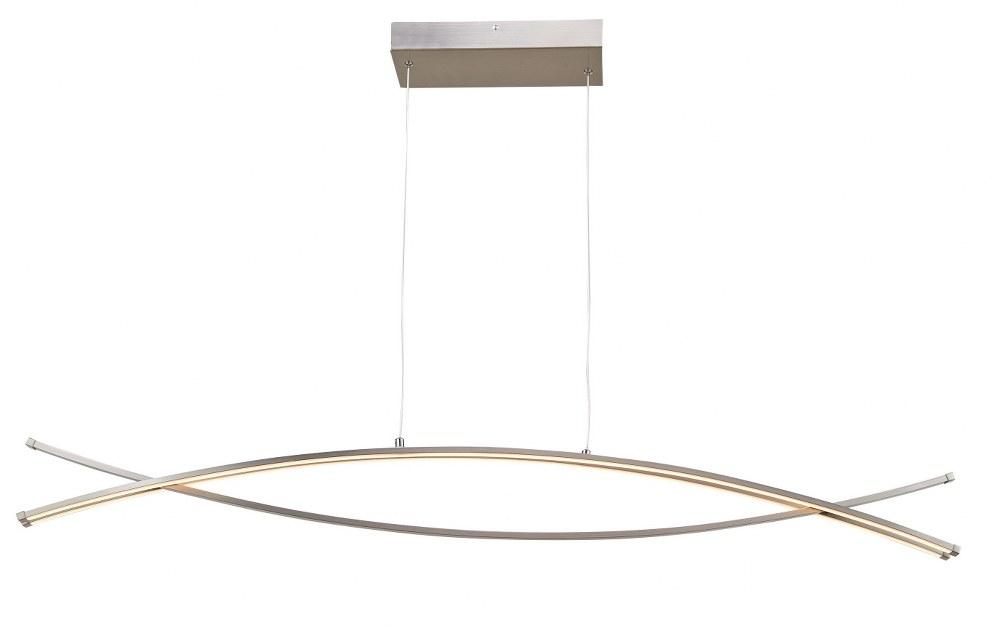 Abra Lighting-10016PN-BN-Wishbone - 45.5 Inch 54W 3 LED Crossed Frame Pendant  Brushed Nickel Finish with White Glass