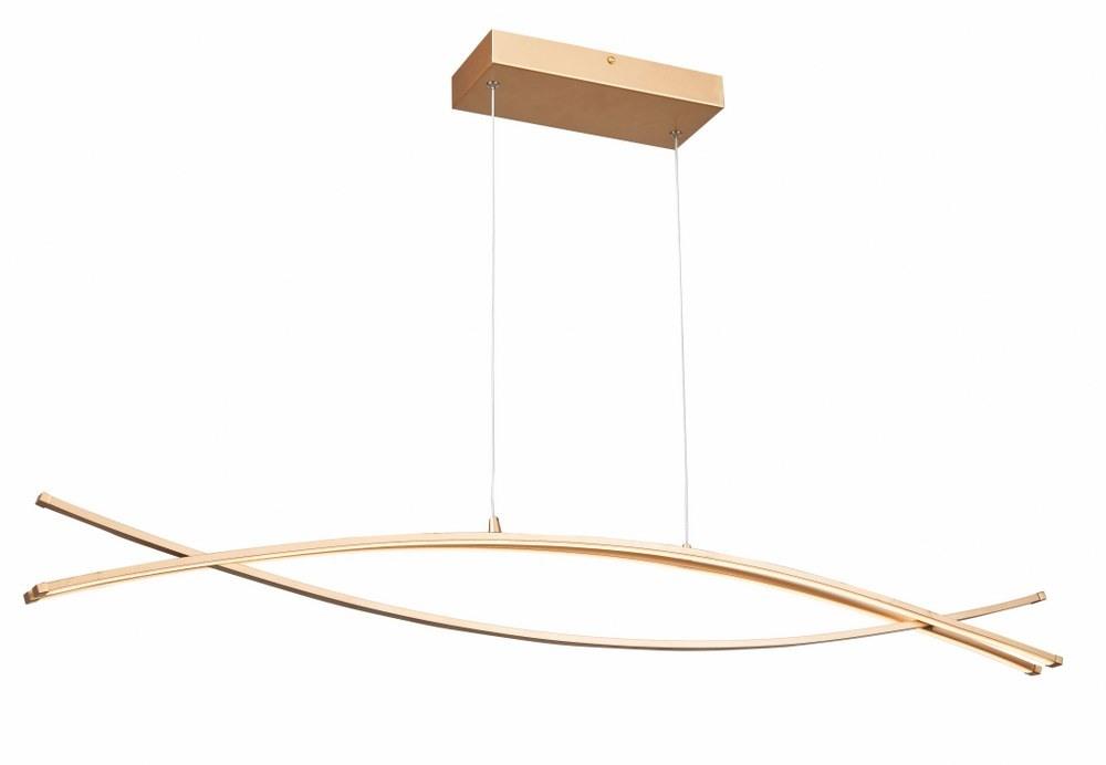 Abra Lighting-10016PN-GLD-Wishbone - 45.5 Inch 54W 3 LED Crossed Frame Pendant  Soft Gold Finish with White Glass