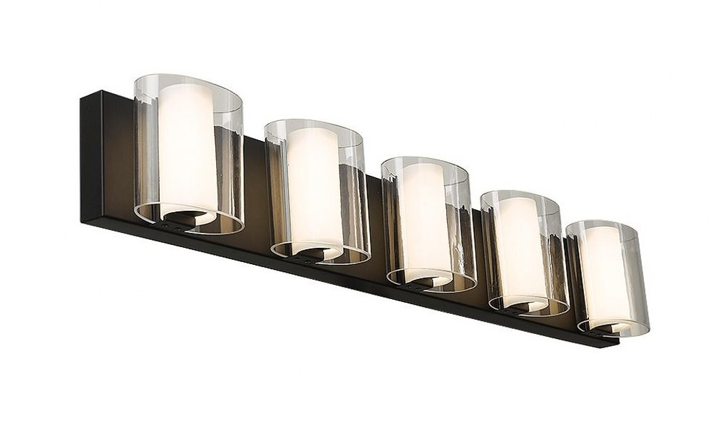 Abra Lighting-20050WV-BL-Zoe - 32 Inch 37.5W 5 LED Bath Vanity  Black Finish with Clear/Frosted Glass