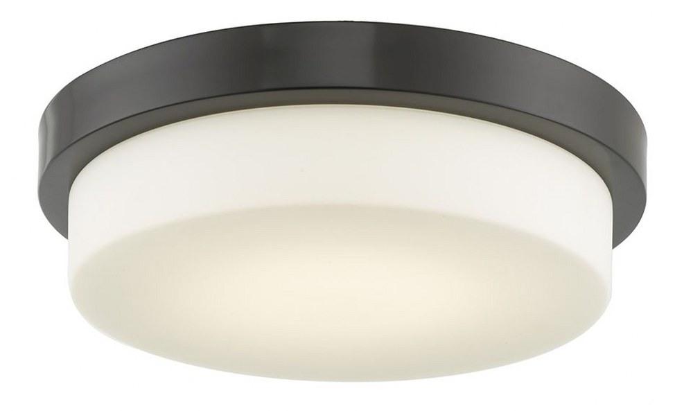 Abra Lighting-30015FM-BZ-Step - 12.8 Inch 20W 1 LED Flush Mount  Bronze Finish with Opal Glass