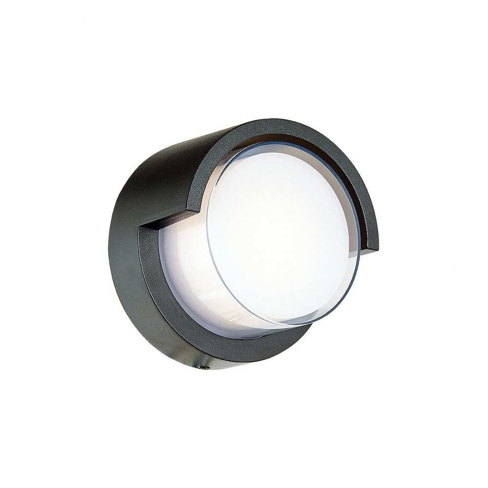 Abra Lighting-50021ODW-MB-Geo - 6.7 Inch 9W 1 LED Round Outdoor Wall Sconce With Hood  Matte Black Finish with White Glass