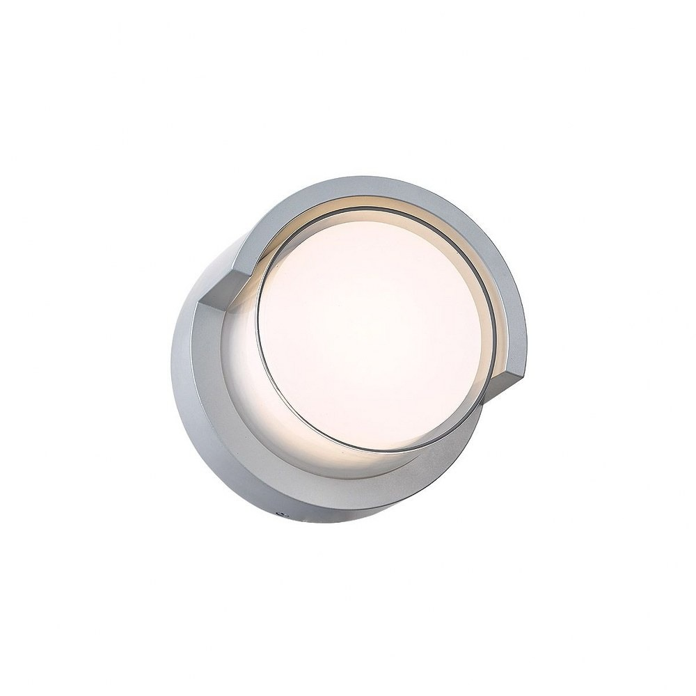 Abra Lighting-50021ODW-SL-Geo - 6.7 Inch 9W 1 LED Round Outdoor Wall Sconce With Hood  Silica Finish with White Glass