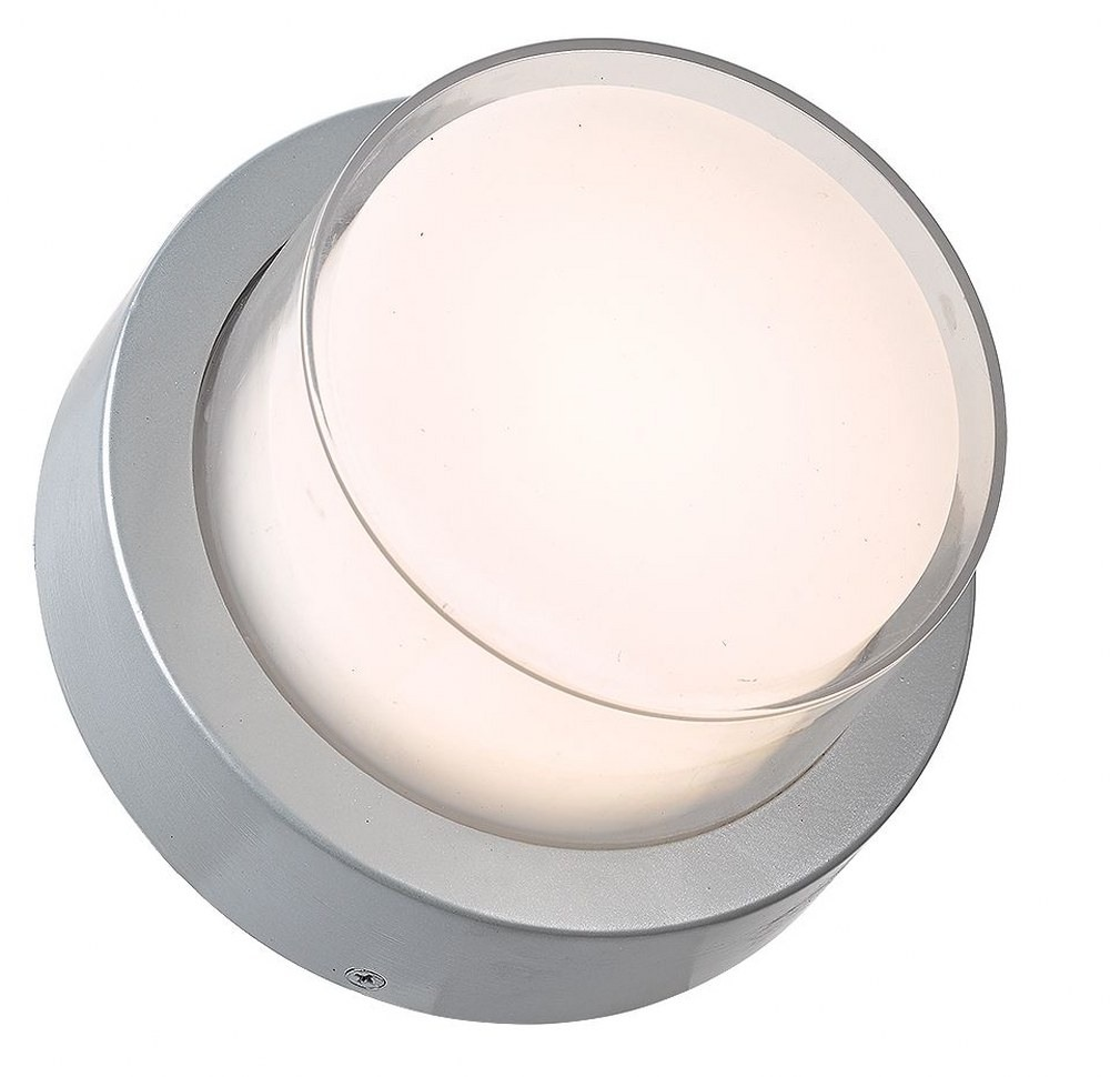 Abra Lighting-50022ODW-SL-Geo - 6.7 Inch 9W 1 LED Round Outdoor Wall Sconce  Silica Finish with White Glass