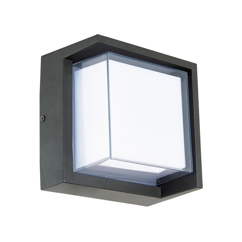Abra Lighting-50023ODW-MB-Geo - 6.3 Inch 9W 1 LED Square Outdoor Wall Sconce With Hoods  Matte Black Finish with White Glass