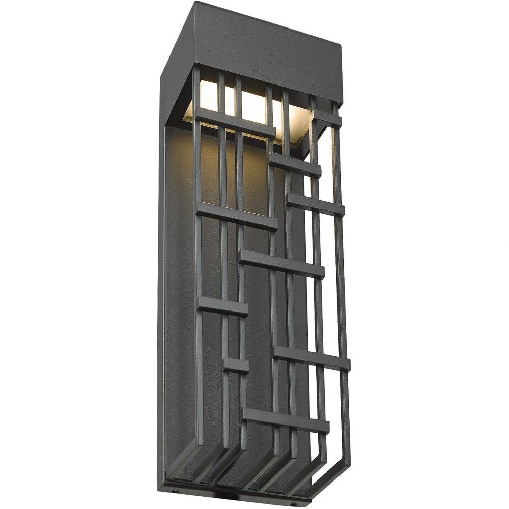Abra Lighting-50061ODW-MB-Aspen - 14 Inch 15W 1 LED Outdoor Wall Sconce  Matte Black Finish with Frosted Glass