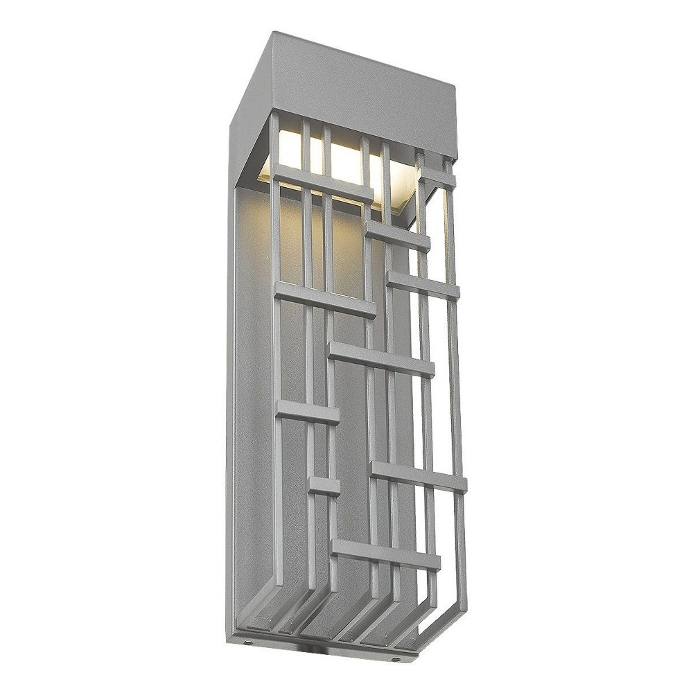 Abra Lighting-50061ODW-SL-Aspen - 14 Inch 15W 1 LED Outdoor Wall Sconce  Silica Finish with Frosted Glass