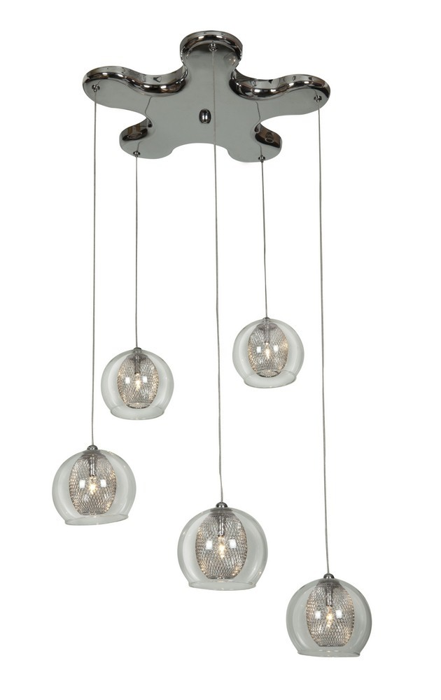 Access Lighting-52076-CH/CLR-Aeria - Five Light Pendant  Chrome Finish with Clear Glass