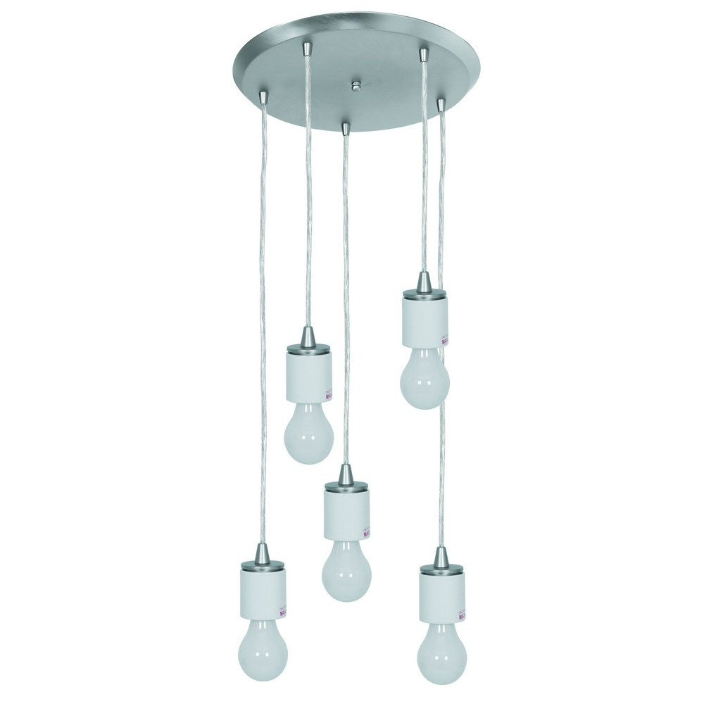 Access Lighting-52232FC-BS-Circ - Five Light Round Pendant  Brushed Steel Finish