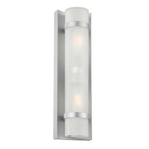 Acclaim Lighting-4701BS-Apollo - Two Light Small Wall Lantern  Brushed SilverFinish with Frosted Seeded Glass