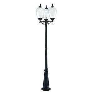 Acclaim Lighting-5369BK/CL-Acorn - Three Light Post Lantern  Matte BlackFinish with Clear Prismatic Acrylic Glass