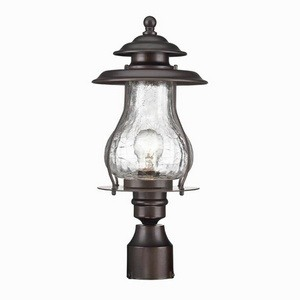 Acclaim Lighting-8207ABZ-Blue Ridge - One Light Post Lantern  Architectural BronzeFinish with Clear Crackled Glass
