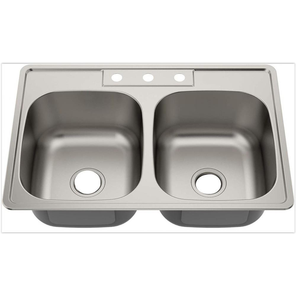 American Imaginations Ai 29362 33 Inch Kitchen Sink With Double Basin Above Counter Installation 3 Hole 8 Inch Faucet Drilling Center Faucet Drilling Location With No Overflow