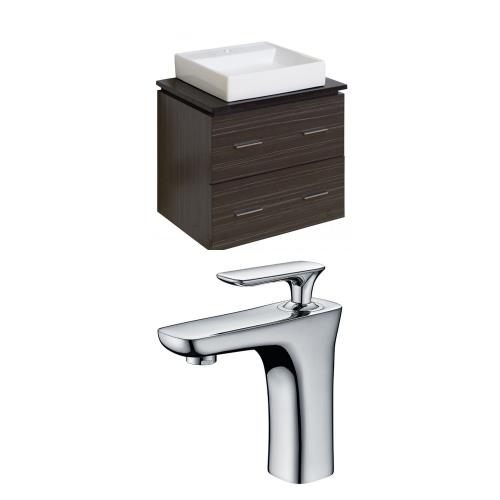 American Imaginations Ai 8402 Xena Quartz 24 Inch Wall Mount Vanity Set For 1 Hole Drilling With Top