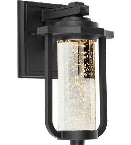 Artcraft Lighting-AC9011BK-North Star - 11 Inch 10W 1 LED Outdoor Wall Mount  Black Finish with Seeded Clear Glass