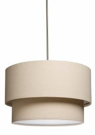 Artcraft Lighting-SC522OM-Mercer Street - 3 Light Chandelier  Oatmeal Finish with White Glass with Fabric Shade