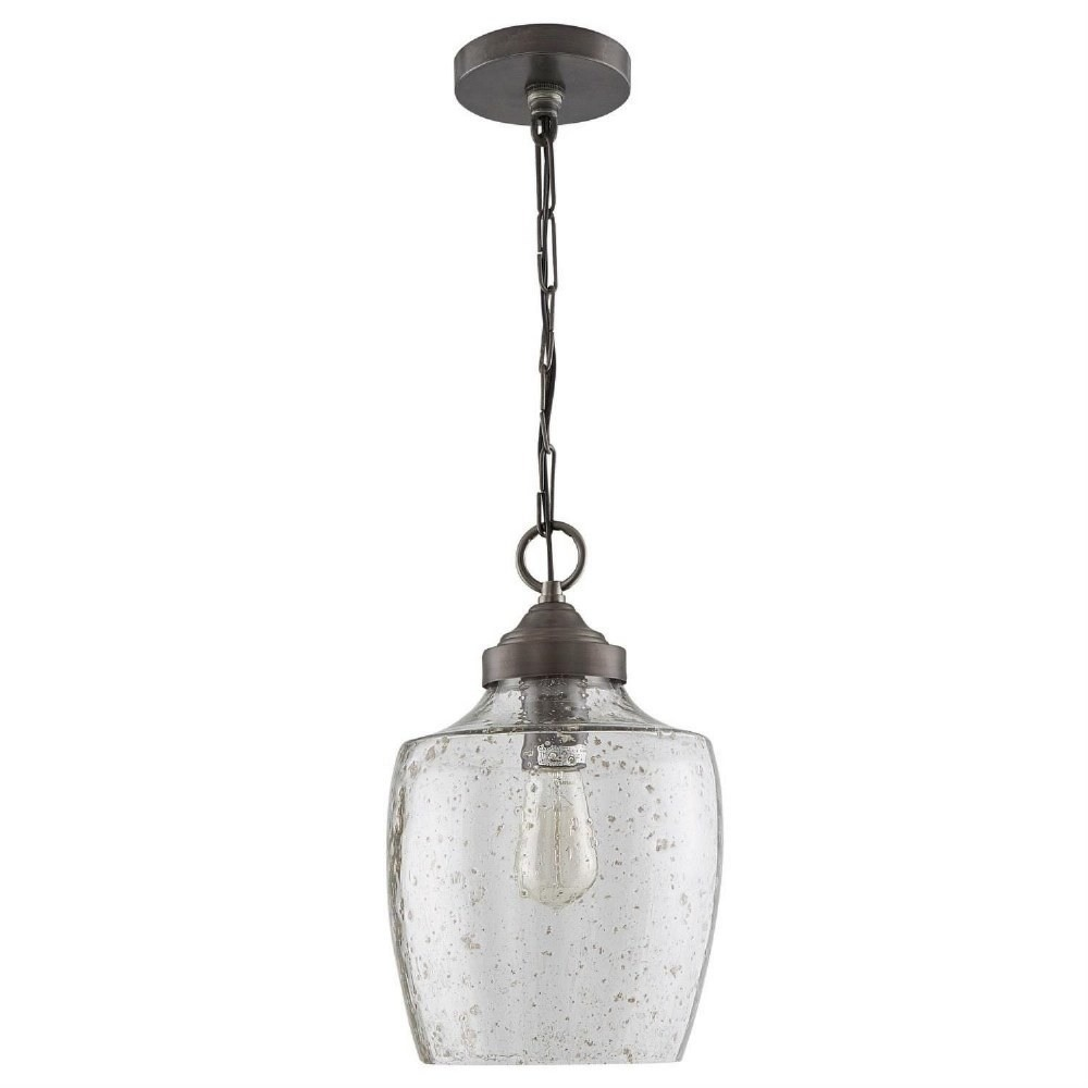Austin Allen & Co-330414PW-Rhea - One Light Pendant  Pewter Finish with Stone Seeded Glass