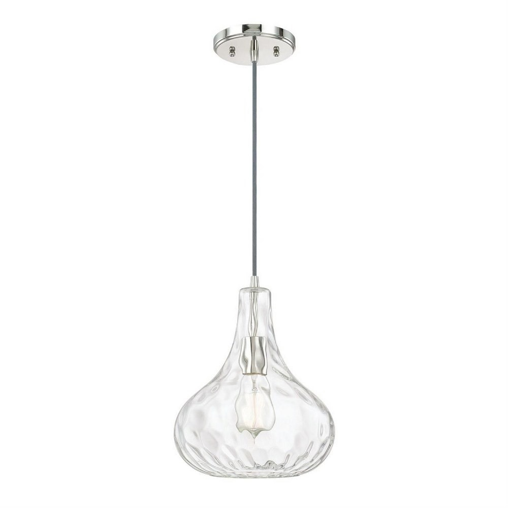 Austin Allen & Co-9B239A-9 Inch One Light Pendant  Polished Nickel Finish with Clear Textured Glass