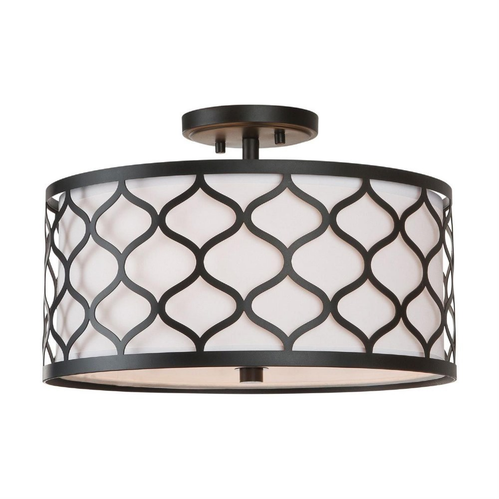 Austin Allen & Co-9D305A-AA - Three Light Semi-Flush Mount  Matte Black Finish with White Glass with White Fabric Shade