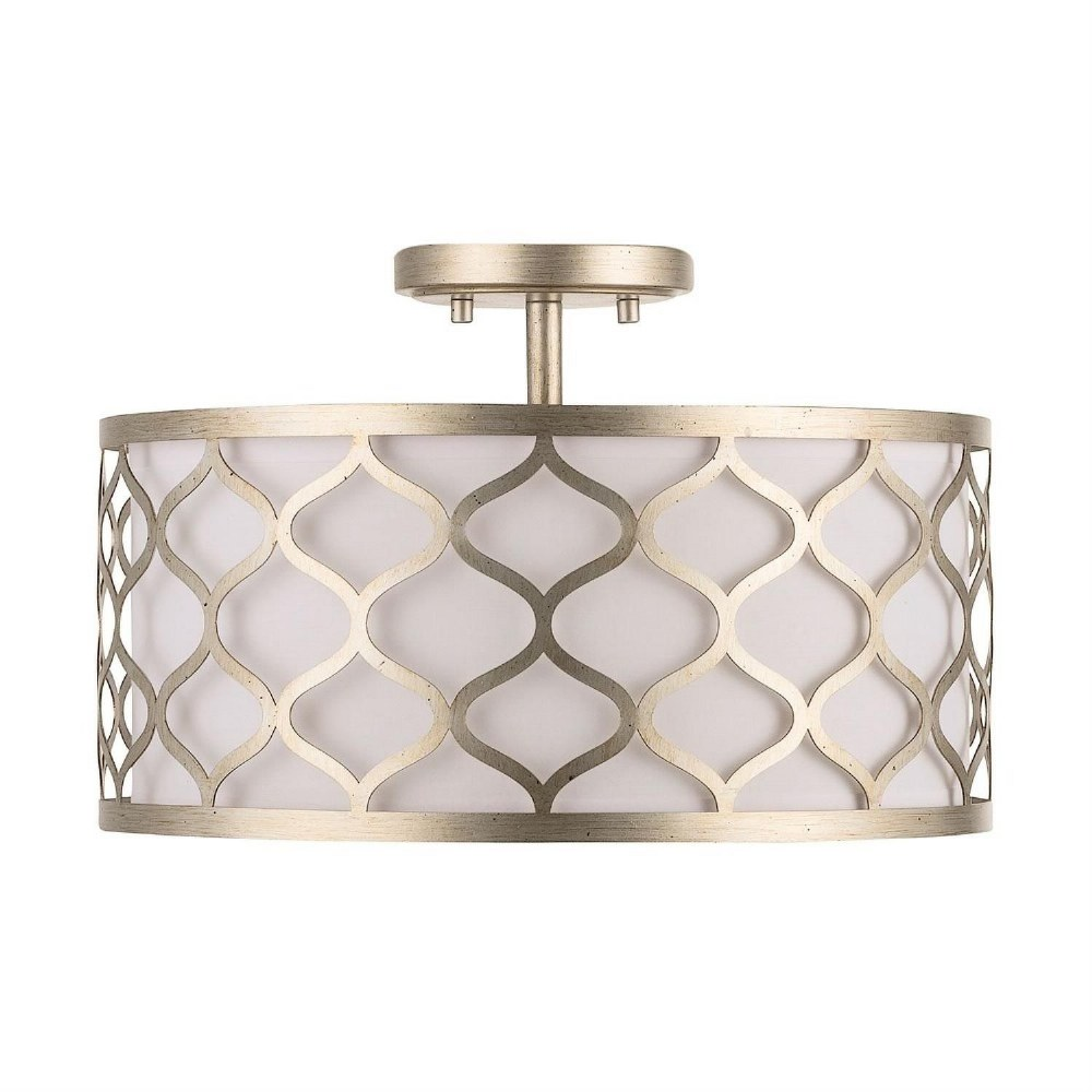 Austin Allen & Co-9D324A-AA - Three Light Semi-Flush Mount  Winter Gold Finish with White Glass with White Fabric Shade