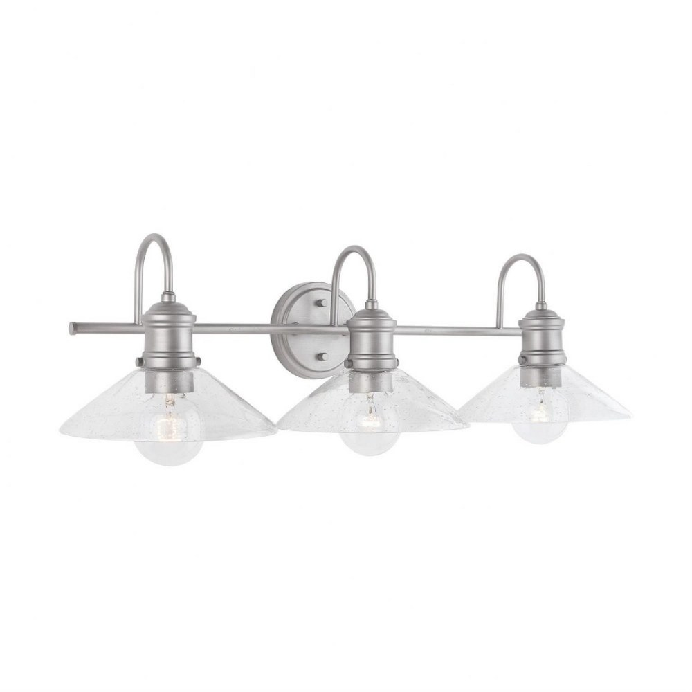 Austin Allen & Co-9D333A-Zephir - Three Light Bath Vanity  Brushed Nickel Painted Finish with Clear Seeded Glass