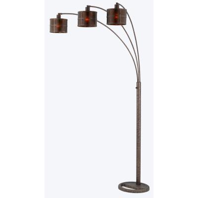 Cal Lighting BO-2036 Three Light Mica Arc Metal Floor Lamp