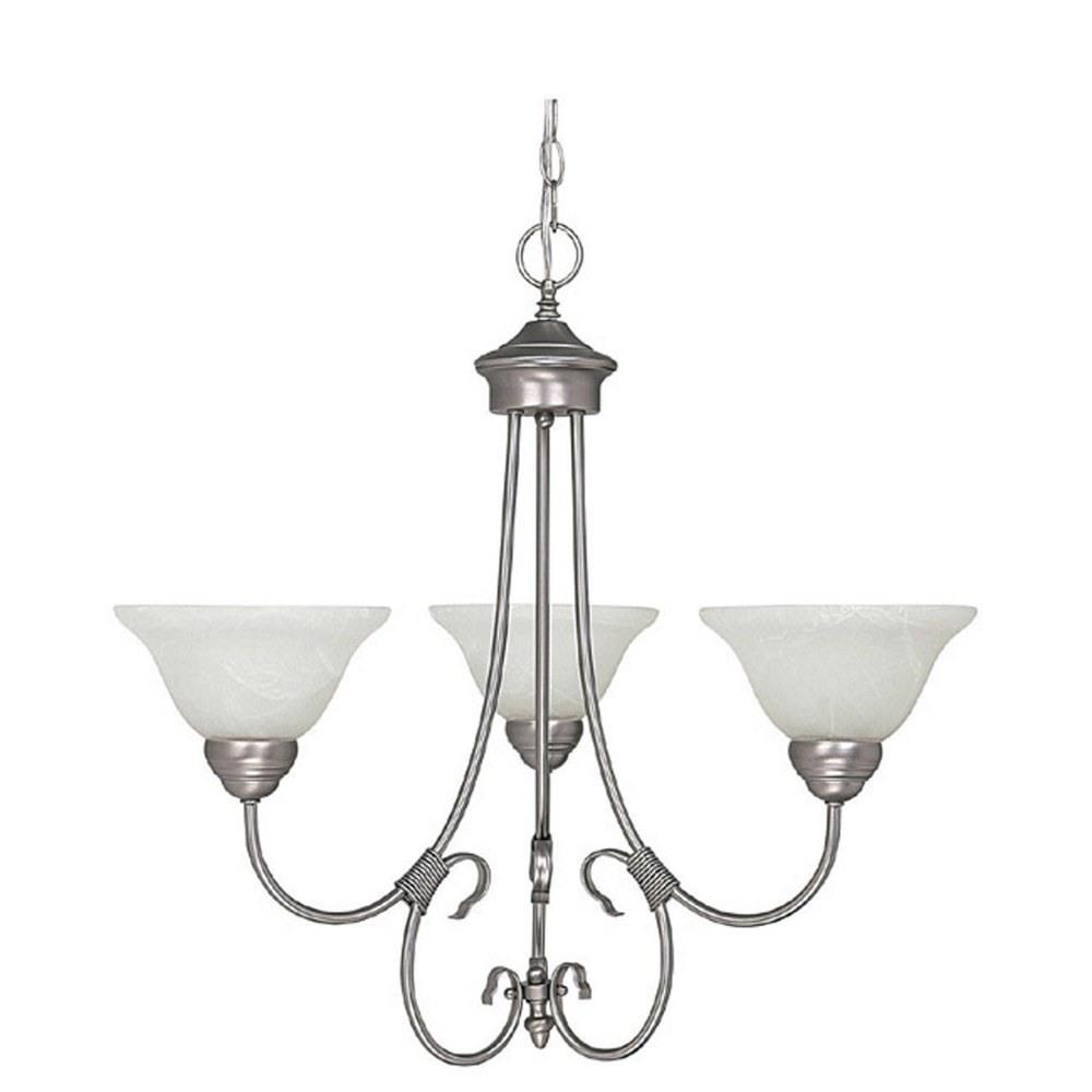 Capital Lighting-3223MN-220-Hometown Chandelier 3 Light Matte Nickel  Matte Nickel Finish with Faux White Alabaster Glass