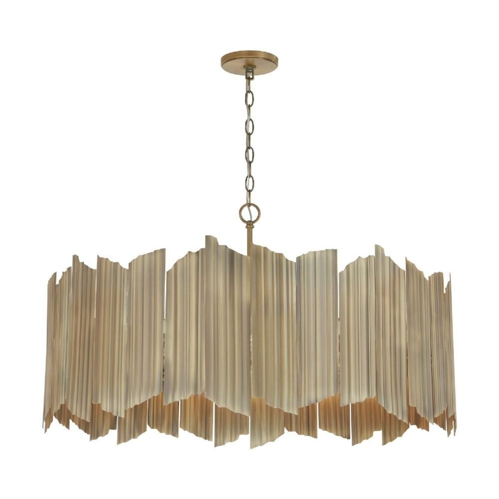 Capital Lighting-333462AD-Xavier - 19.5 Inch 6 Light Pendant  Aged Brass Finish with Corrugated Metal Shade