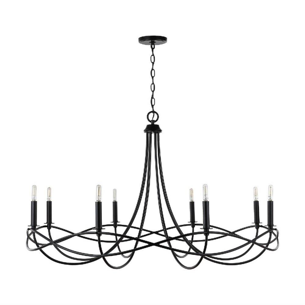 sonnet chandelier 8 light matte black metal in transitional style 44 5 high by 27 wide