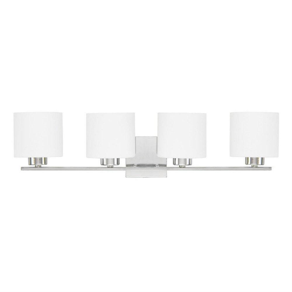 Capital Lighting-8494CH-103-Steele 4 Light Modern Bath Vanity Approved for Damp Locations  Chrome Finish with Soft White Glass
