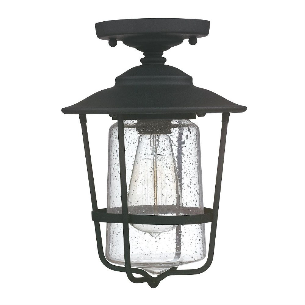 Capital Lighting-9607BK-Creekside - 12 Inch 1 Light Outdoor Semi-Flush Mount  Black Finish with Clear Glass