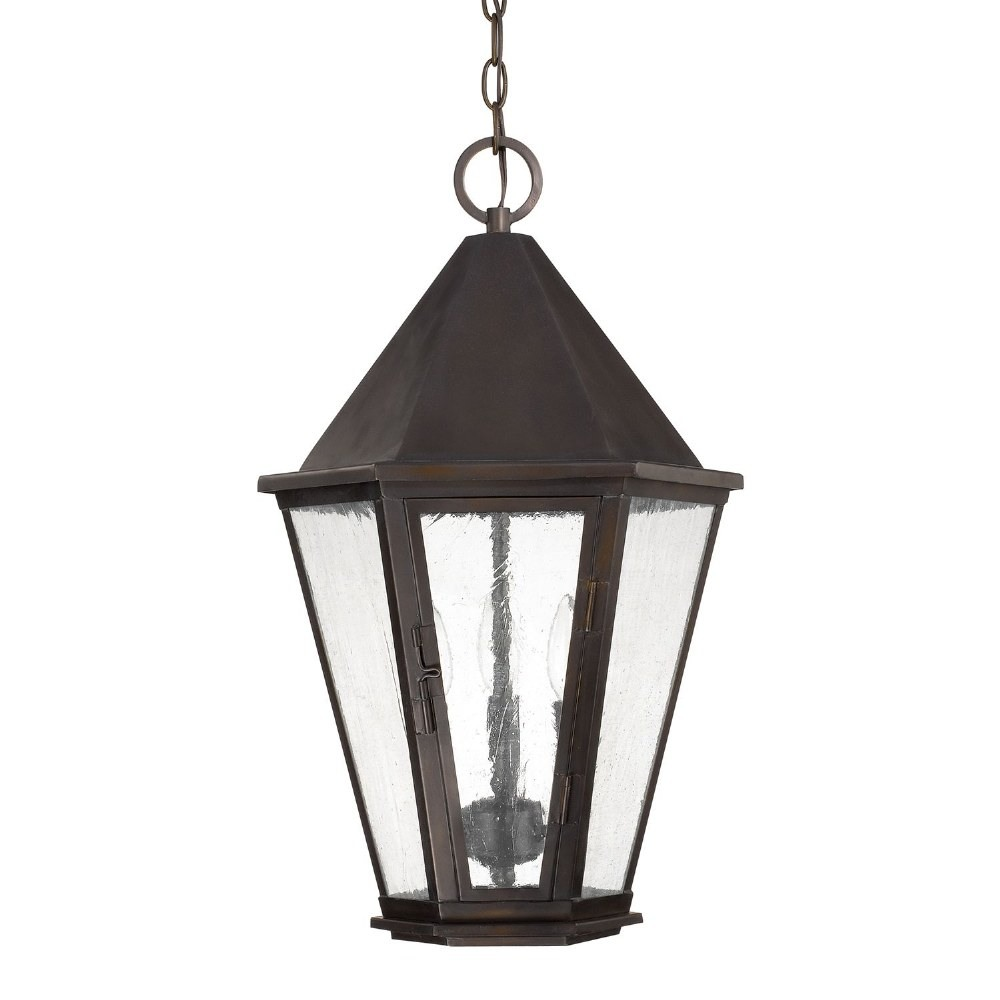 Capital Lighting-9624OB-Spencer - 3 Light Outdoor Hanging Lantern  Old Bronze Finish with Antiques Water Glass