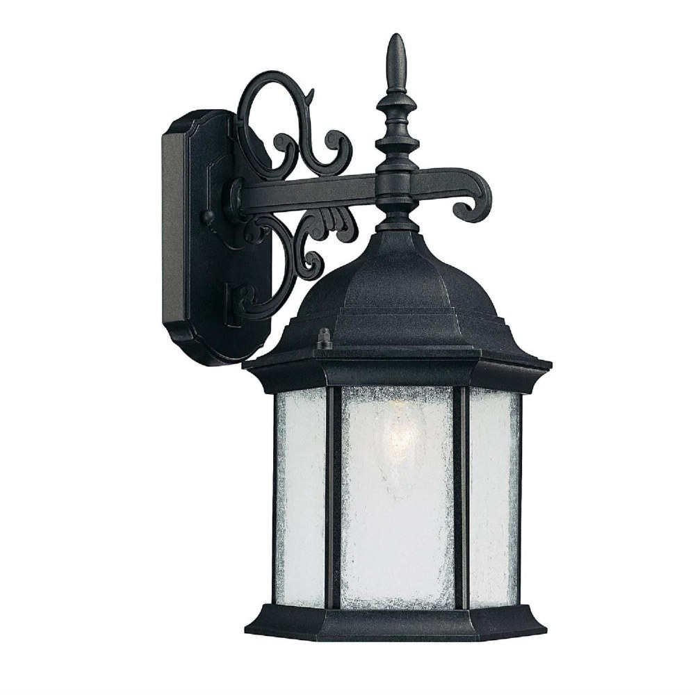 Capital Lighting-9833BK-Main Street - 16 Inch 1 Light Outdoor Wall Mount  Black Finish with Seeded Glass