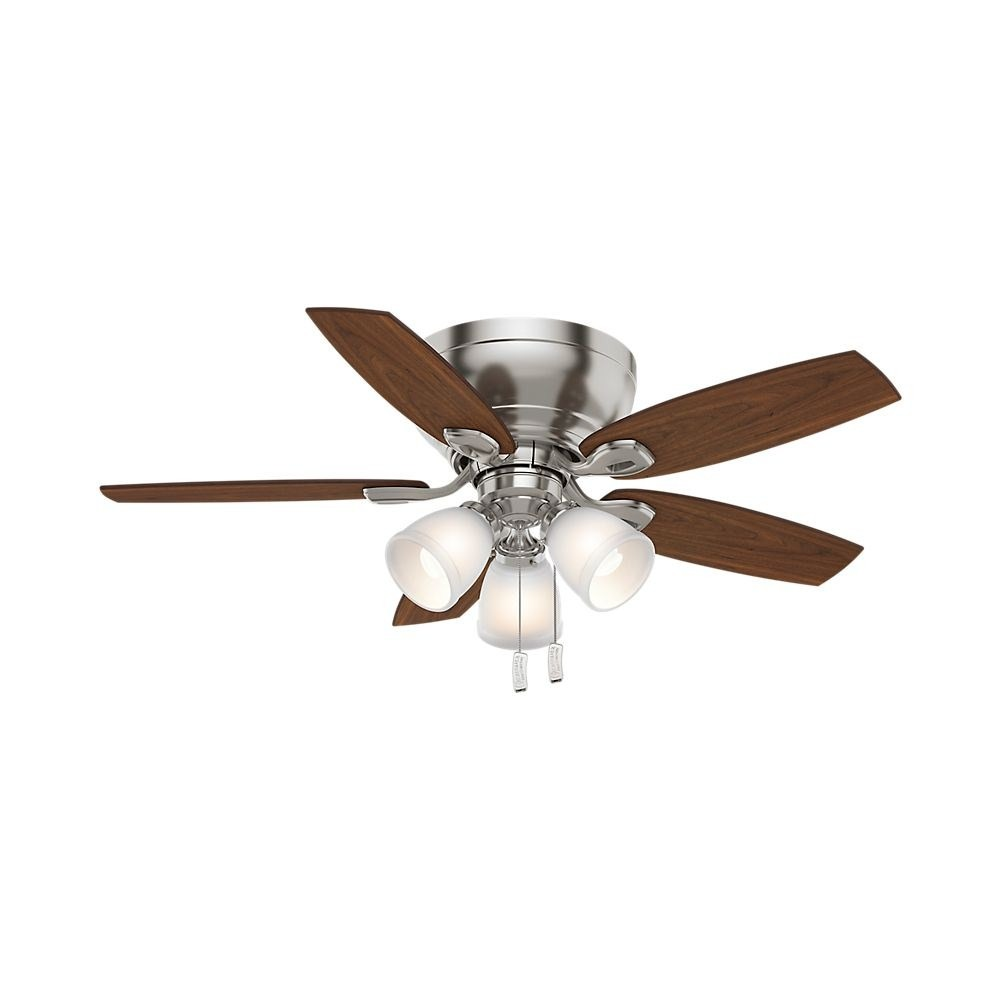 Casablanca Fans-53187-Durant 5 Blade 44 Inch Ceiling Fan with Pull Chain Control  Brushed Nickel Finish with Walnut/Burnt Walnut Blade Finish with Painted Cased White Glass