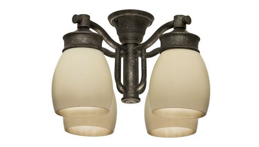 Casablanca Fans-99087-Accessory - Four Light Outdoor Fixture  Aged Bronze Finish with Tea Stain Glass