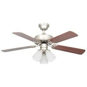 Concord Fans-42HEH5ESN-Heritage - 42 Inch Ceiling Fan  Satin Nickel Finish with Rosewood/Silver Oak Blade Finish with Frosted Scalloped Glass