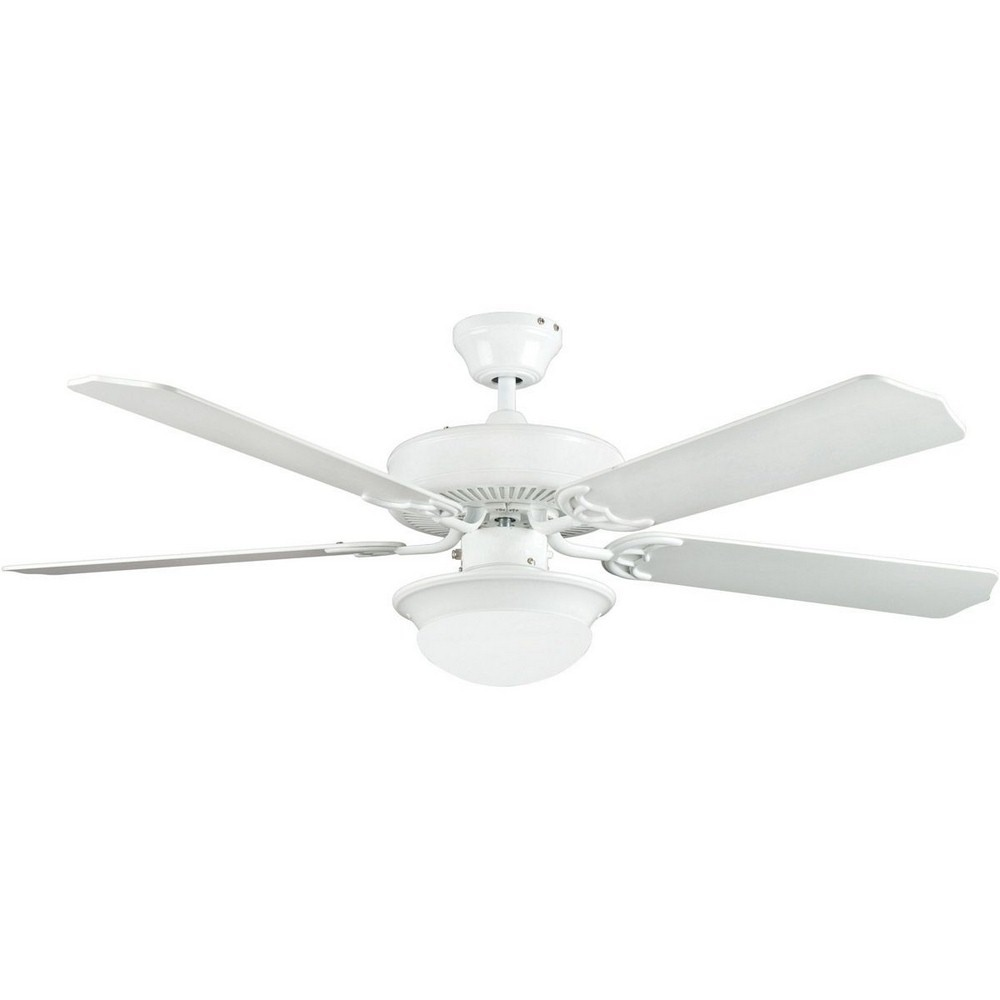 Concord Fans-52HEF5EWH-ES-Heritage Fusion - 52 Inch Ceiling Fan  White Finish with White Blade Finish with Opal White Glass