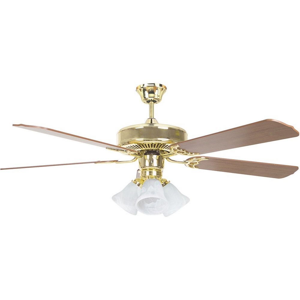 Concord Fans-52HEH5EBB-Heritage Home - 52 Inch Ceiling Fan  Oil Polished Brass Finish with ABS Dark Blade Finish with Opal White Glass