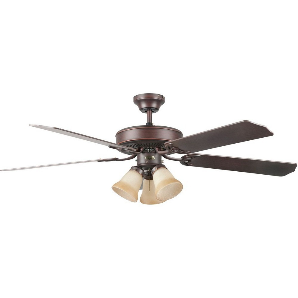 Concord Fans-52HEH5EORB-Heritage Home - 52 Inch Ceiling Fan with Light Kit  Oil Rubbed Bronze Finish with Oak Blade Finish with Antique Amber Scavo Glass