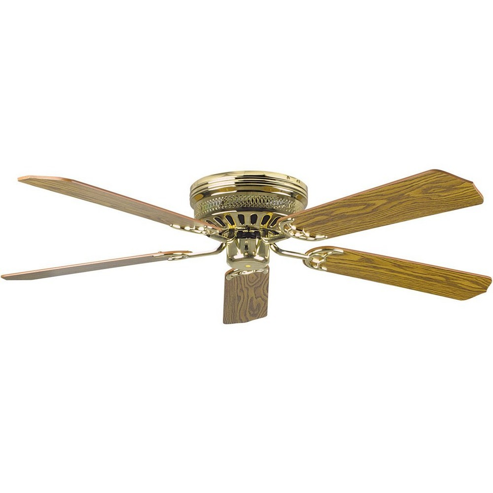 Concord Fans-52HUG5BB-Hugger - 52 Inch Ceiling Fan  Polished Brass Finish with ABS Dark Blade Finish with Opal White Glass