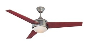 Concord Fans-52SKY3ESN-Skylark - 52 Inch Ceiling Fan  Satin Nickel Finish with Dark Cherry Blade Finish with Frosted Glass