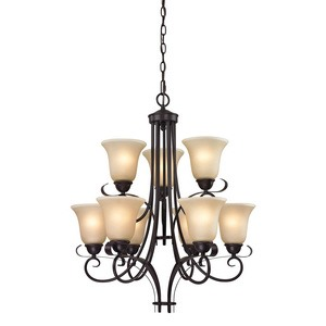 Cornerstone-1009CH/10-Oil Rubbed Bronze Finish with Light Amber Glass