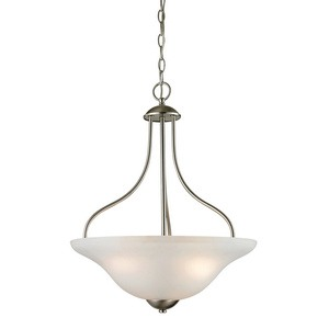 Cornerstone-1203PL/20-Conway - Three Light Large Pendant  Brushed Nickel Finish with White Glass