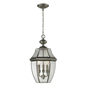 Cornerstone-8603EH/80-Ashford - Three Light Large Outdoor Hanging Lantern  Antique Nickel Finish with Clear Beveled Glass