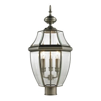 Cornerstone-8603EP/80-Ashford - Three Light Large Post Lantern  Antique Nickel Finish with Clear Beveled Glass