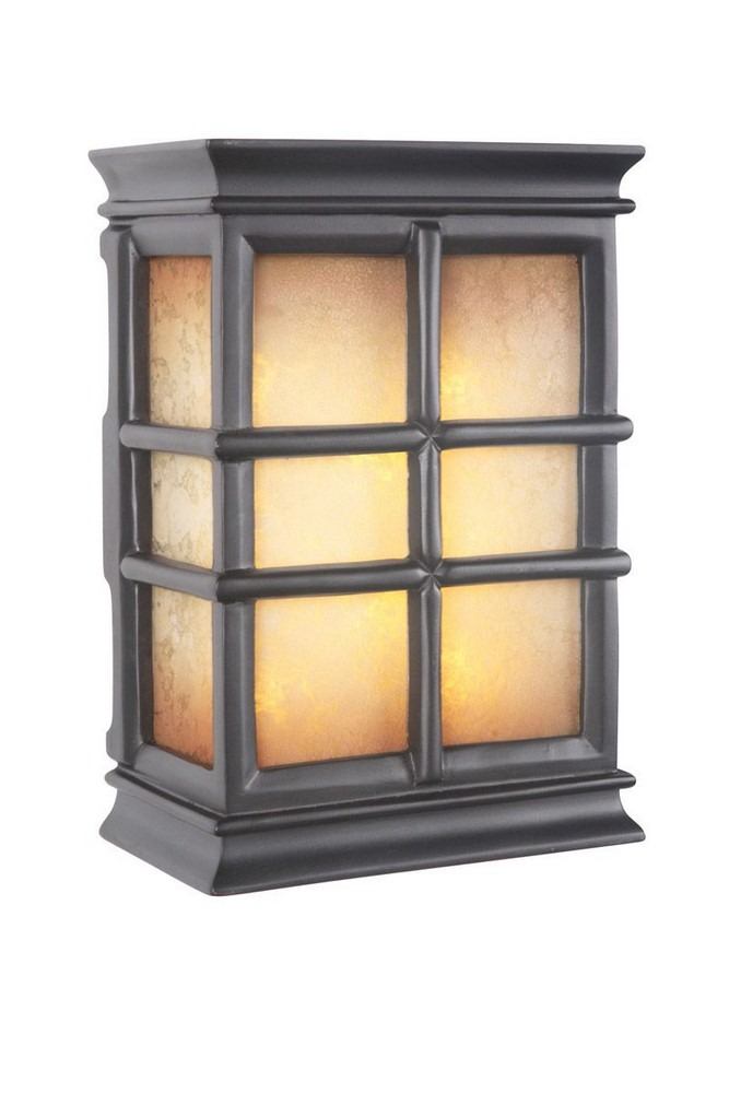 Craftmade Lighting-ICH1505-BK-10 Inch LED Outdoor Window Chime  Black Finish with Tea-Stained Glass