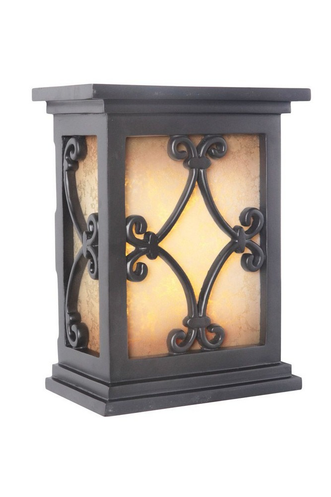 Craftmade Lighting-ICH1515-BK-10.25 Inch LED Outdoor Scroll Chime  Black Finish with Tea-Stained Glass