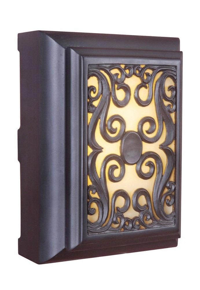 Craftmade Lighting-ICH1630-OB-11.50 Inch LED Outdoor Scroll Chime  Oiled Bronze Finish with Amber Glass