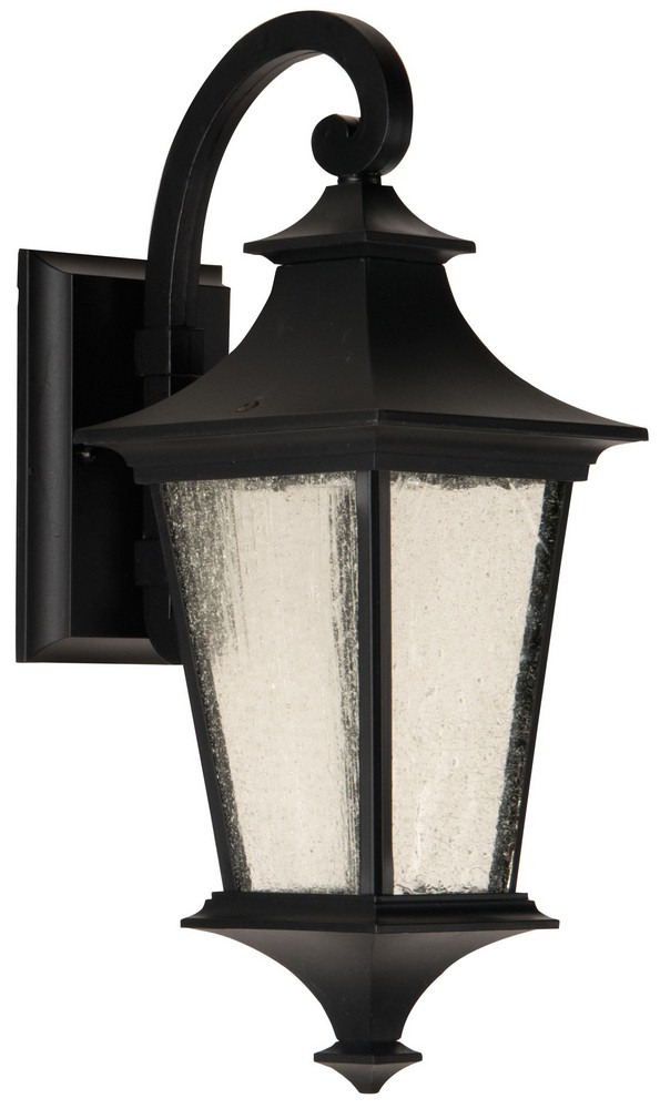 Craftmade Lighting-Z1354-MN-LED-Argent II - 15 Inch LED Outdoor Small Wall Mount  Midnight Finish with Clear Seeded Glass