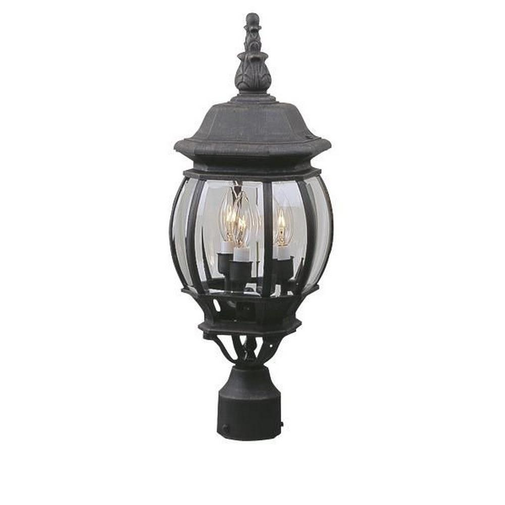 French Style Three Outdoor Medium Post Light