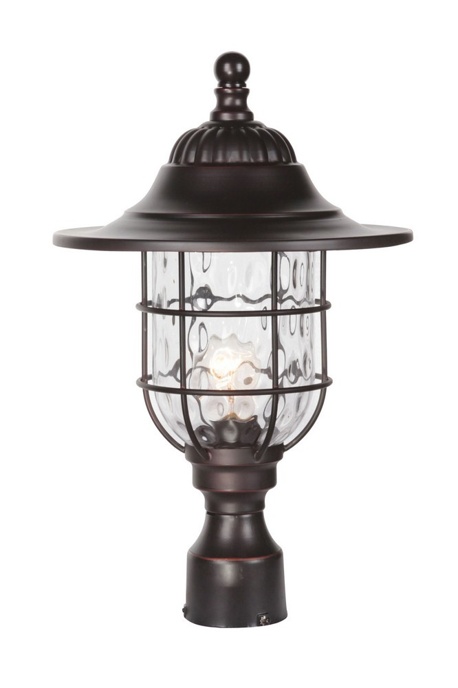 Craftmade Lighting-Z5825-OBG-Fairmount - One Light Outdoor Large Post Mount  Oiled Bronze Gilded Finish with Clear Hammered Glass